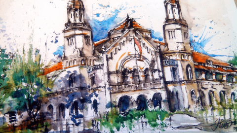 #WorldWatercolorGroup - Watercolor sketch by Noor Huda Bastomi of lawang sewu thousand doors #urbansketchers #usk - #Doodlewash