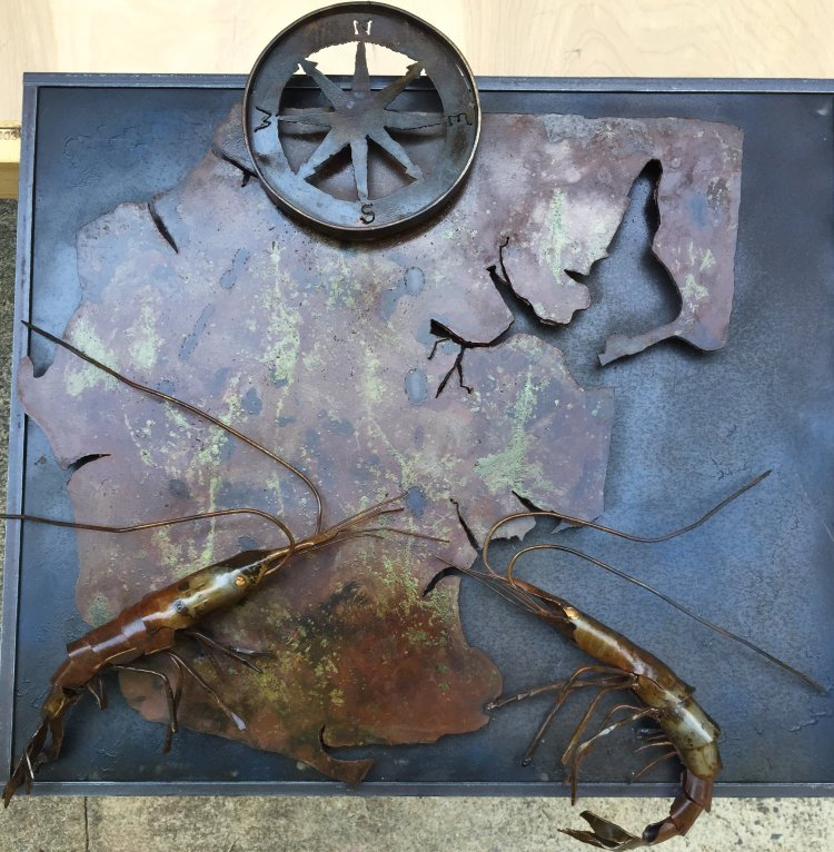 Steel Sculpture by Michael Haun - Shrimp