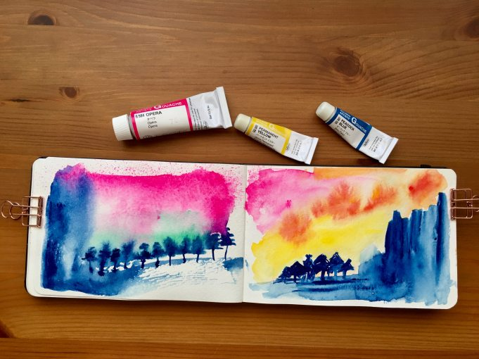holbein artists gouache set of 18 5ml tubes example painting by jessica seacrest in a moleskine art journal plus watercolor journal