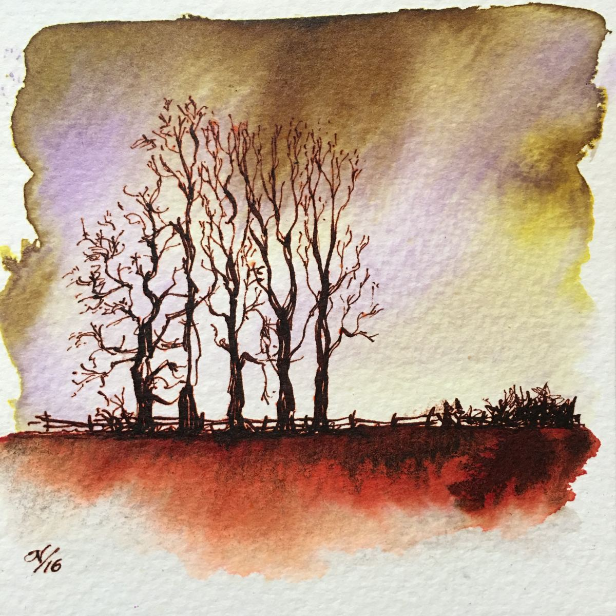 Nick Steward fountain pen ink painting