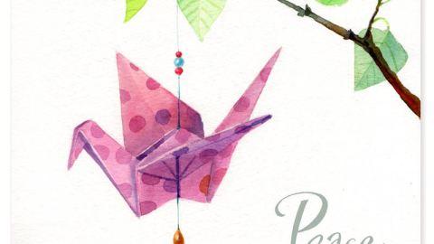#Doodlewash - Watercolor Illustration by Leyla Torres of origami crane - #WorldWatercolorGroup
