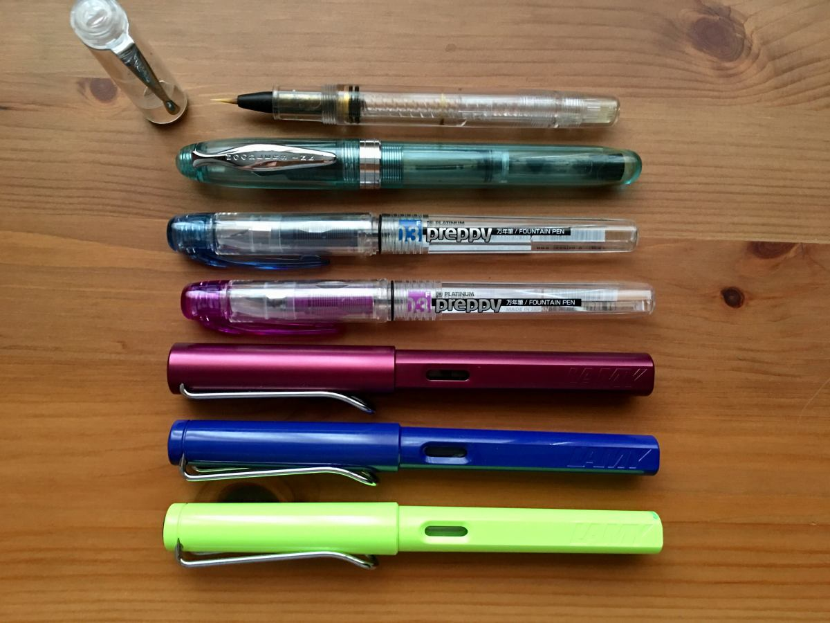 Platinum Preppy, Lamy Safari, Lamy Al-star, Noodler's Ahab, Noodler's brush pens, fountain pens, affordable fountain pens, fountain pens for sketching