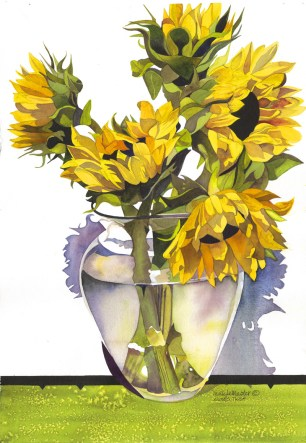 #WorldWatercolorGroup Watercolor painting by Molly LeMaster - Sunflowers - #doodlewash