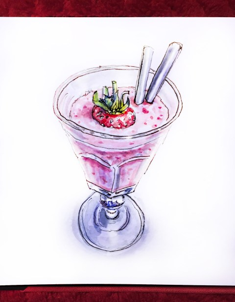 Day 25 - #WorldWatercolorGroup Strawberry Smoothie