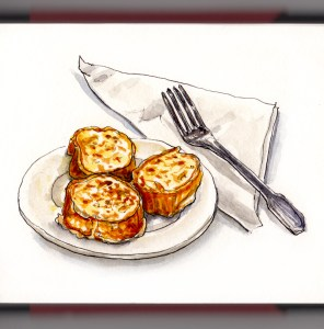 Day 28 - National French Toast Day plate fork napkin white background watercolor