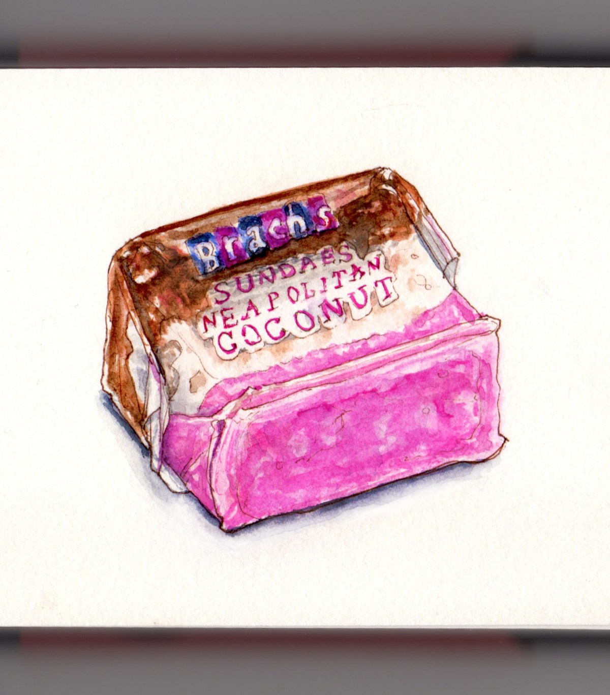 Day 4 - #WorldWatercolorGroup National Candy Day Brach's Sundaes Neapolitan Coconut Candy