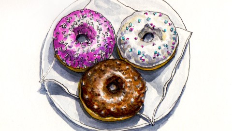 Day 5 - #WorldWatercolorGroup National Doughnut Day Donut day cake donuts