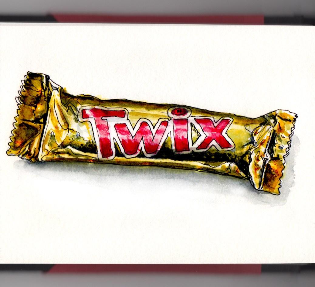 Day 7 - #WorldWatercolorGroup Twix Chocolate Bar watercolor pop art