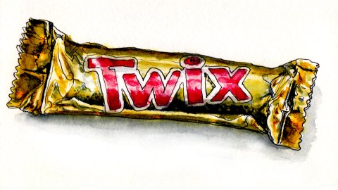 Day 7 - #WorldWatercolorGroup Twix Chocolate Bar watercolor pop art