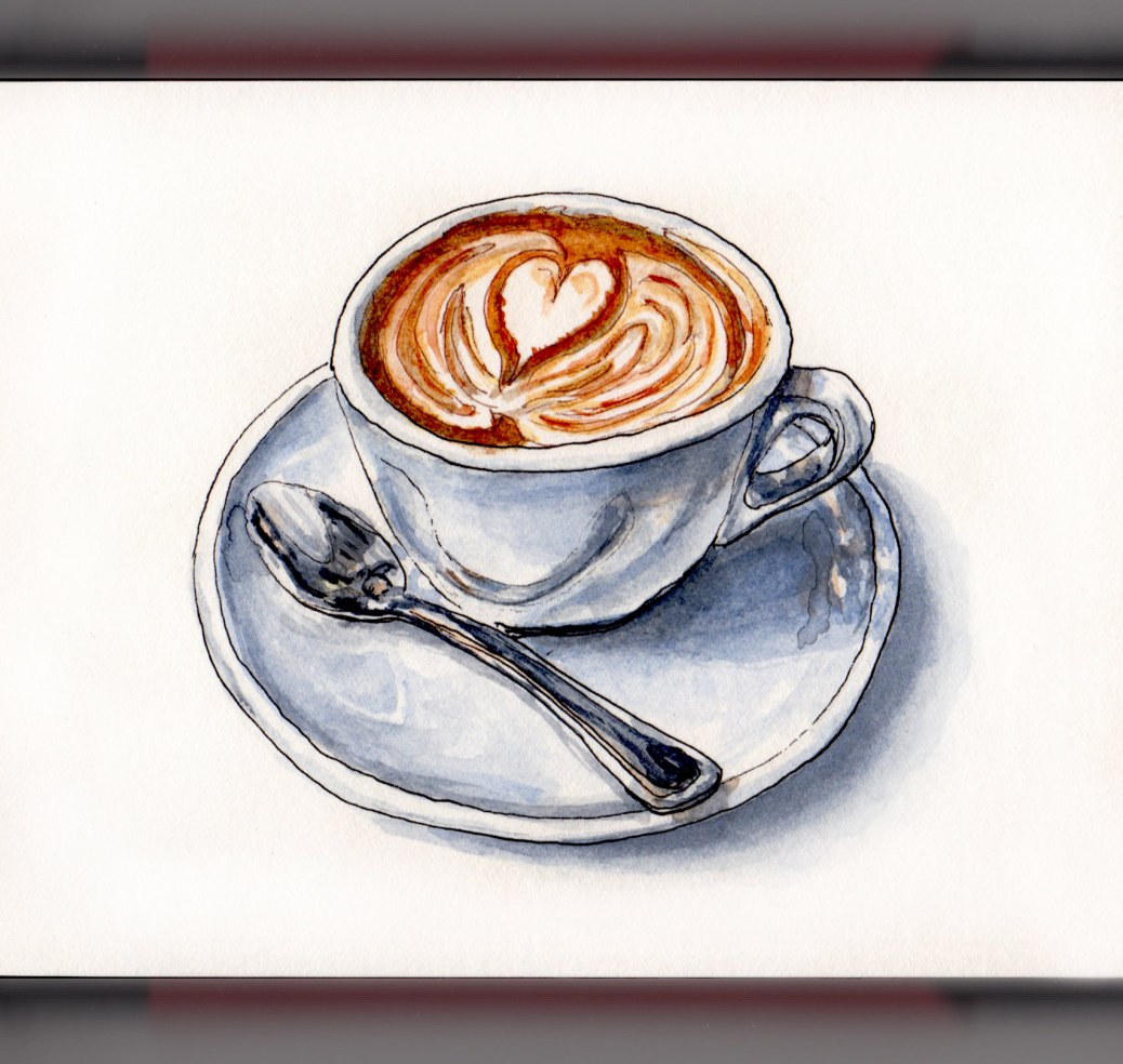 Day 8 - #WorldWatercolorGroup National Cappuccino Day cup and saucer with spoon