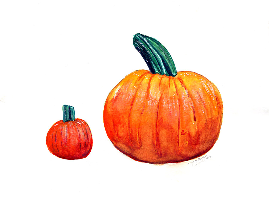 #WorldWatercolorGroup - Watercolor by Miriam Figueras of pumpkins - #doodlewash