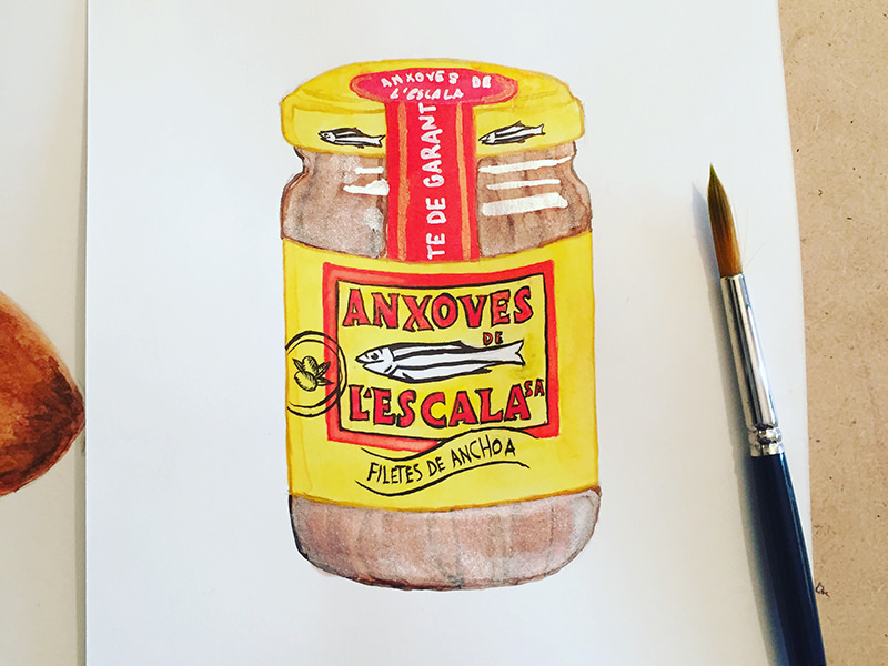 #WorldWatercolorGroup - Watercolor by Miriam Figueras of jar of anchovies - #doodlewash