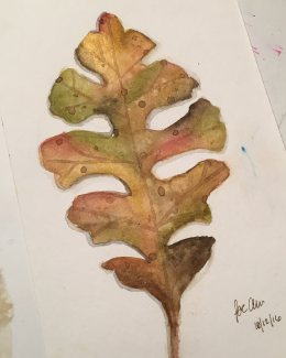 #WorldWatercolorGroup - Watercolor painting of leaf by Jackie