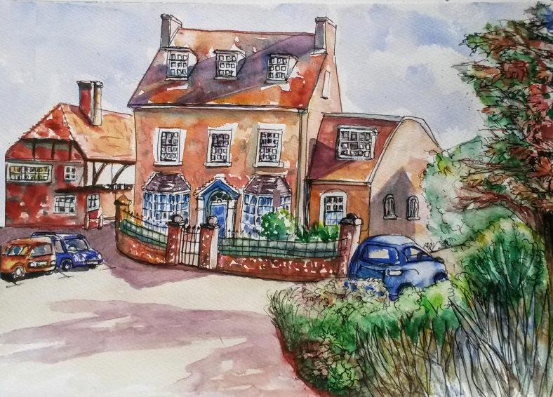 #WorldWatercolorGroup - watercolor of house by Agnès McLaughlin - #doodlewash #usk