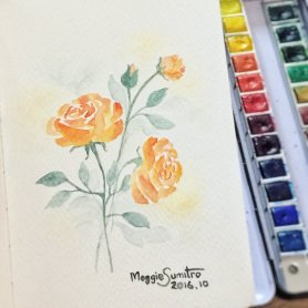 #WorldWatercolorGroup - Watercolor by Maggie Sumitro - Orange Roses - #doodlewash