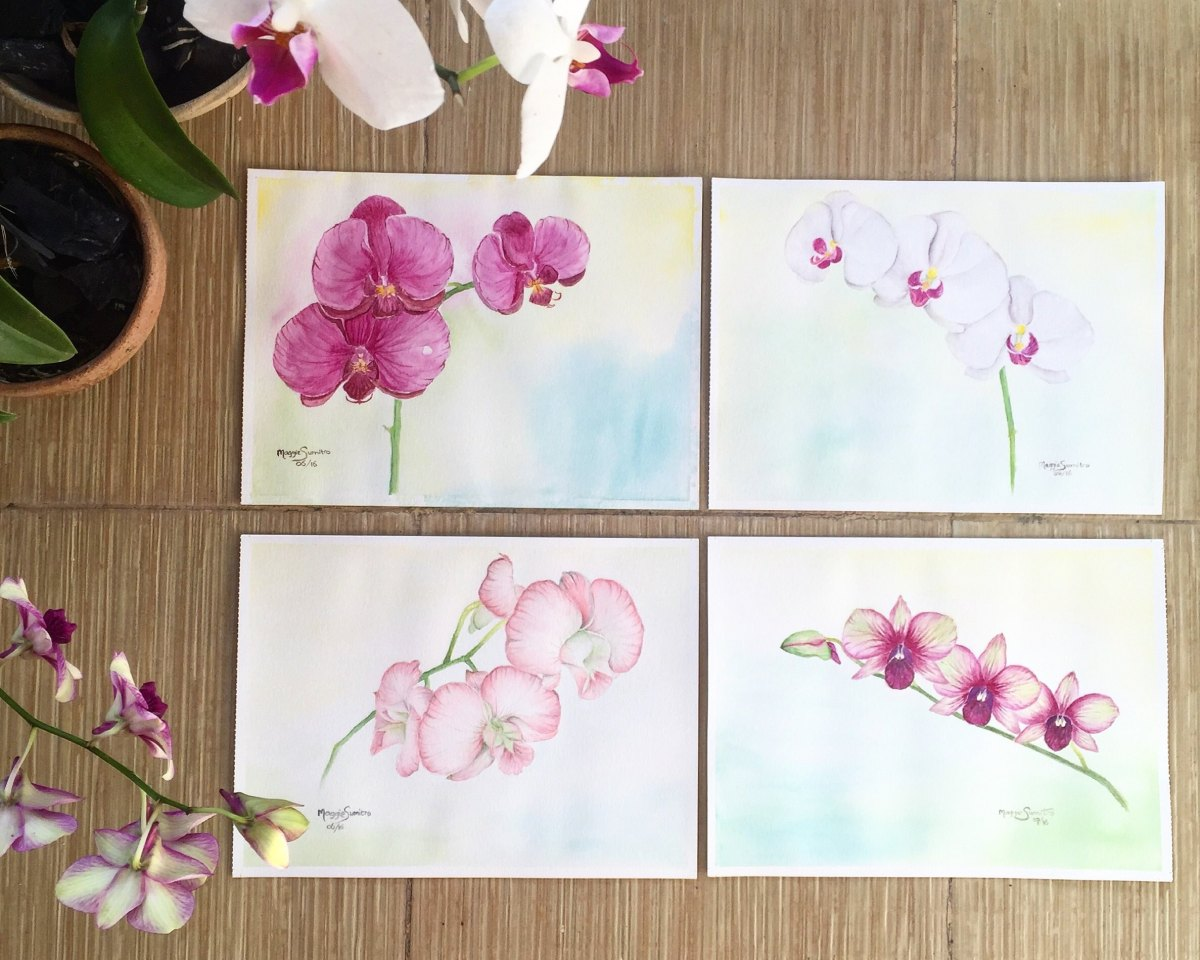 #WorldWatercolorGroup - Watercolor by Maggie Sumitro - Orchid Series - #doodlewash