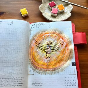 Prima Marketing watercolor confections pastel dreams and decadent pies painting by jessica seacrest in a hobonichi techo planner