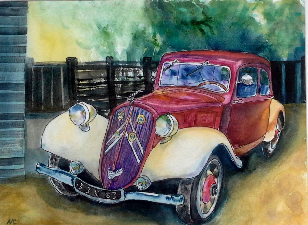 #WorldWatercolorGroup - watercolor of vintage red and white car by Agnès McLaughlin - #doodlewash #usk