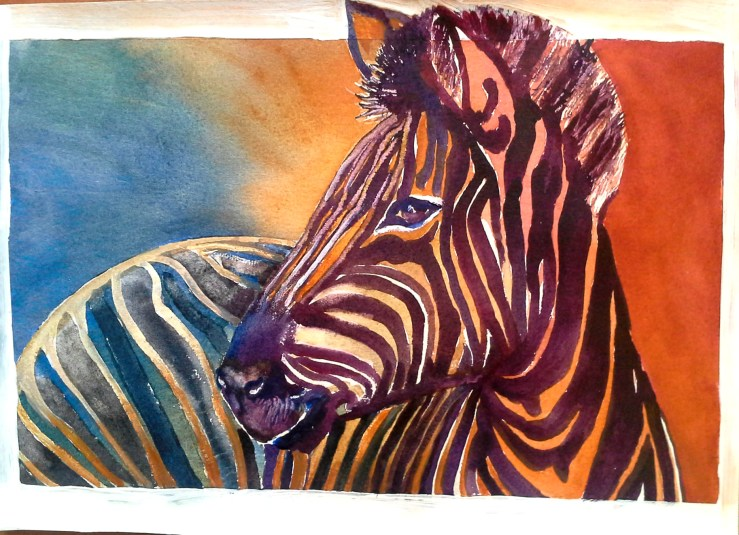 #WorldWatercolorGroup - watercolor of zebra by Agnès McLaughlin - #doodlewash