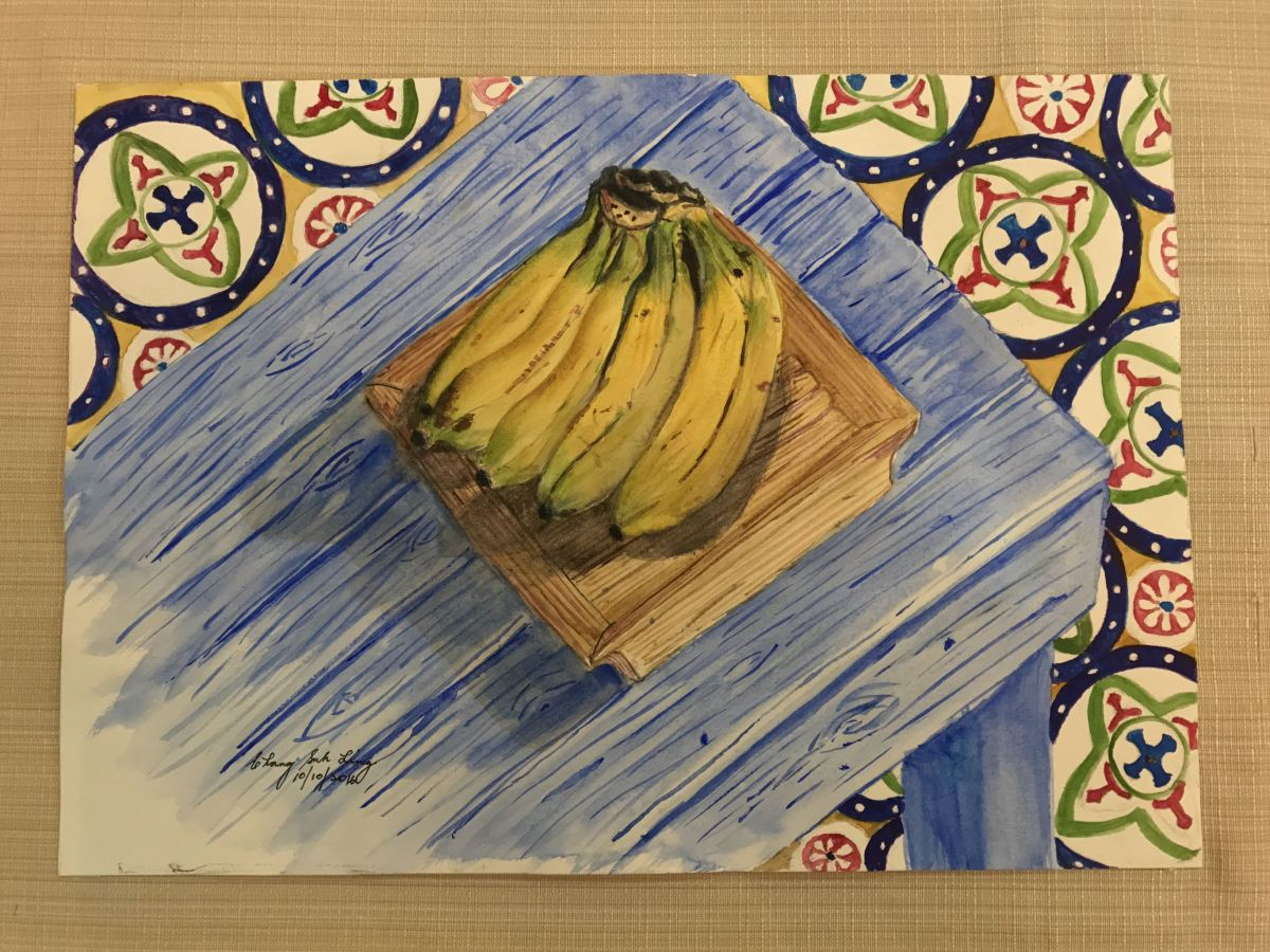 #WorldWatercolorGroup - Watercolor by Suklin Chang of bananas - #doodlewash