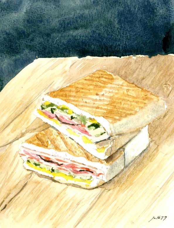 #WorldWatercolorGroup - Watercolor illustration of sandwich by Jody Linn - #doolewash