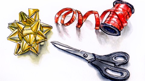 Day 20 - #WorldWatercolorGroup Wrapping Presents Gifts Red Ribbon Gold Bow Scissors