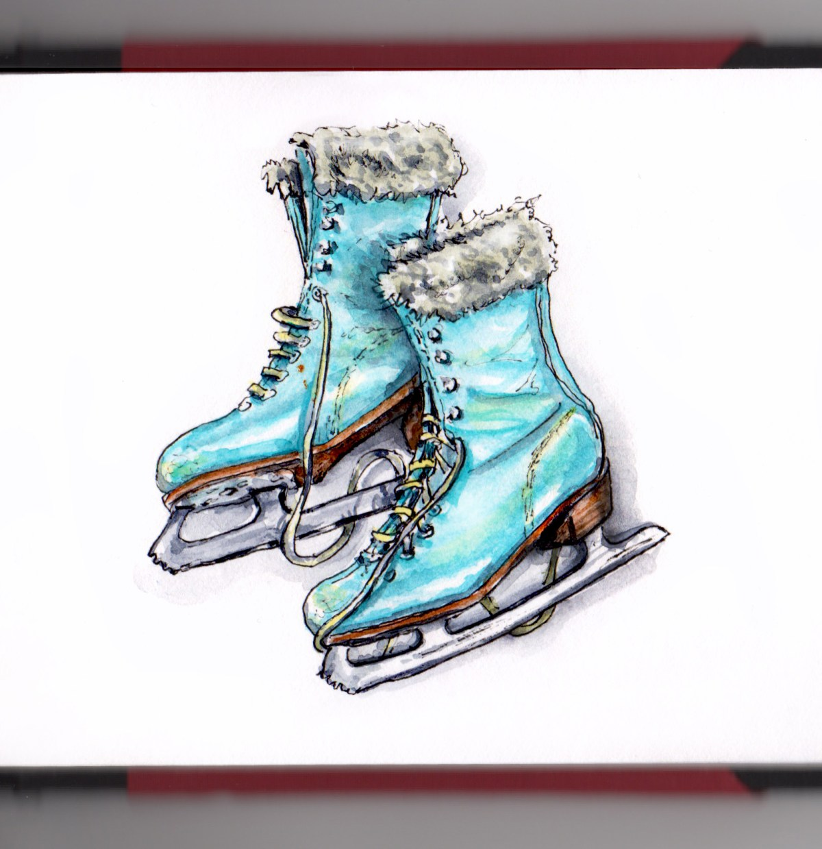 Day 26 - #WorldWatercolorGroup Skating on Thin Ice Blue Ice Skates Fur Top on White Background watercolor - #doodlewash
