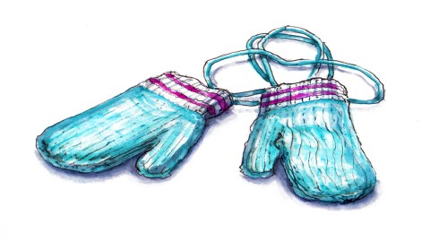 Day 28 - #WorldWatercolorGroup Mysterious Mittens Knitted Knit Blue And Pink With String