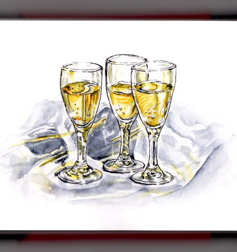 Day 31 - #WorldWatercolorGroup Champagne Toast Happy New Year! 2017