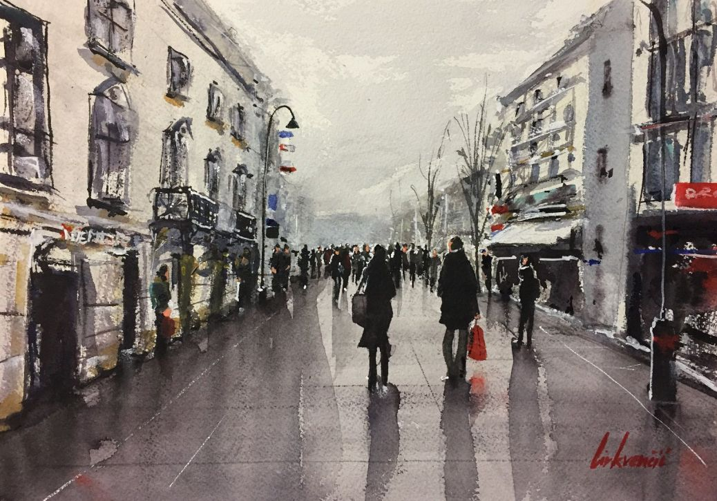 #WorldWatercolorGroup - Watercolor painting street scene by Tihomir Cirkvencic - #doodlewash