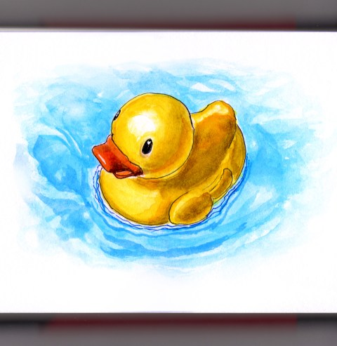 Day 12 - #WorldWatercolorGroup Rubber Duckie Rubber Ducky Duck in blue water Ernie