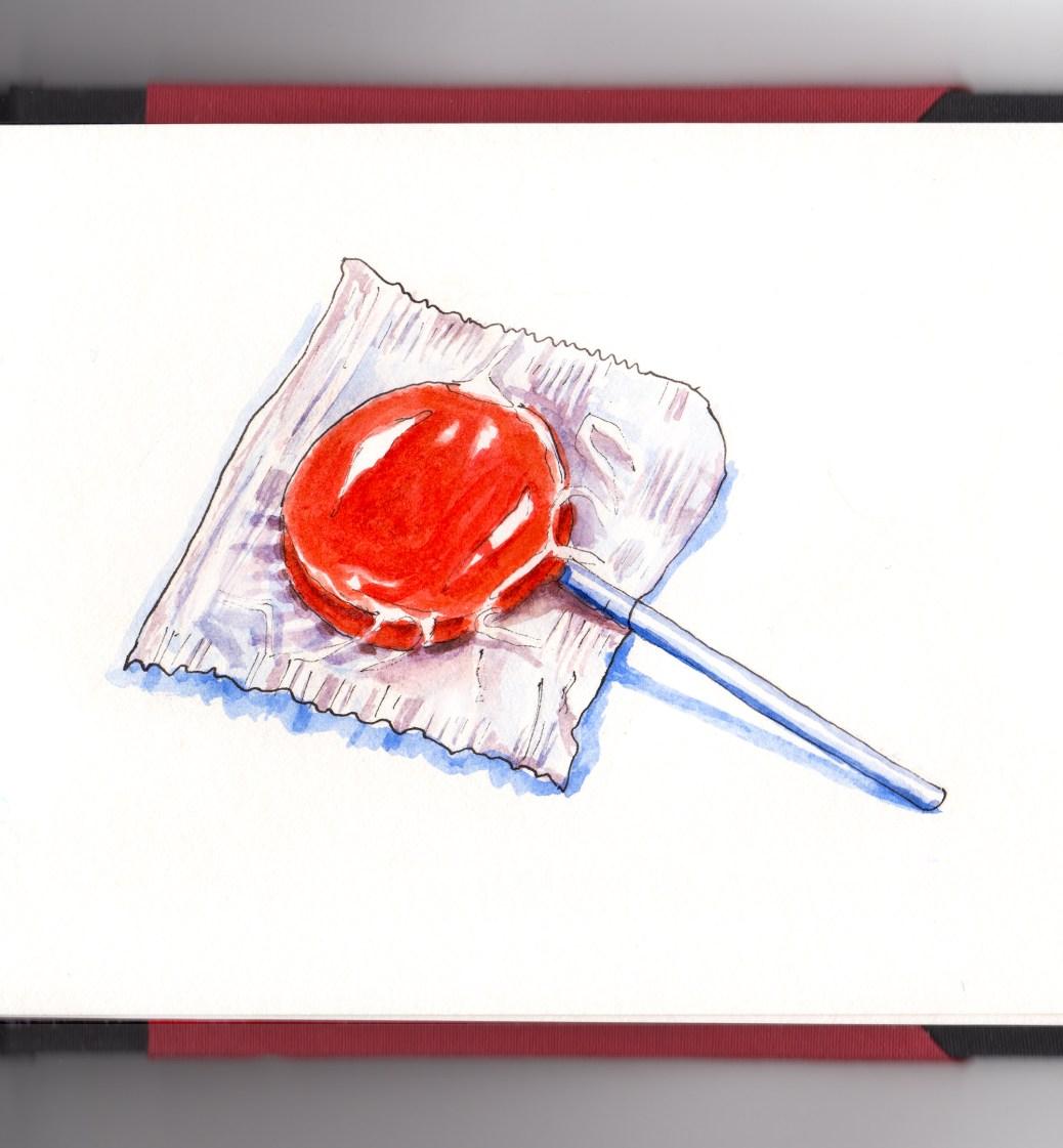 #WorldWatercolorGroup Red Orange Sucker Lollipop in Wrapper on stick