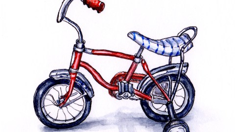 Day 23 - #WorldWatercolorGroup Training Wheels Children's Vintage Red Bike Banana Seat Bicycle