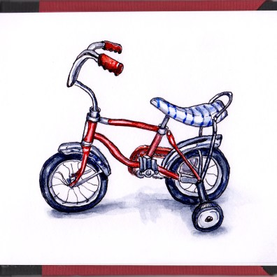 Day 23 - #WorldWatercolorGroup Training Wheels Children's Vintage Red Bike Banana Seat Bicycle