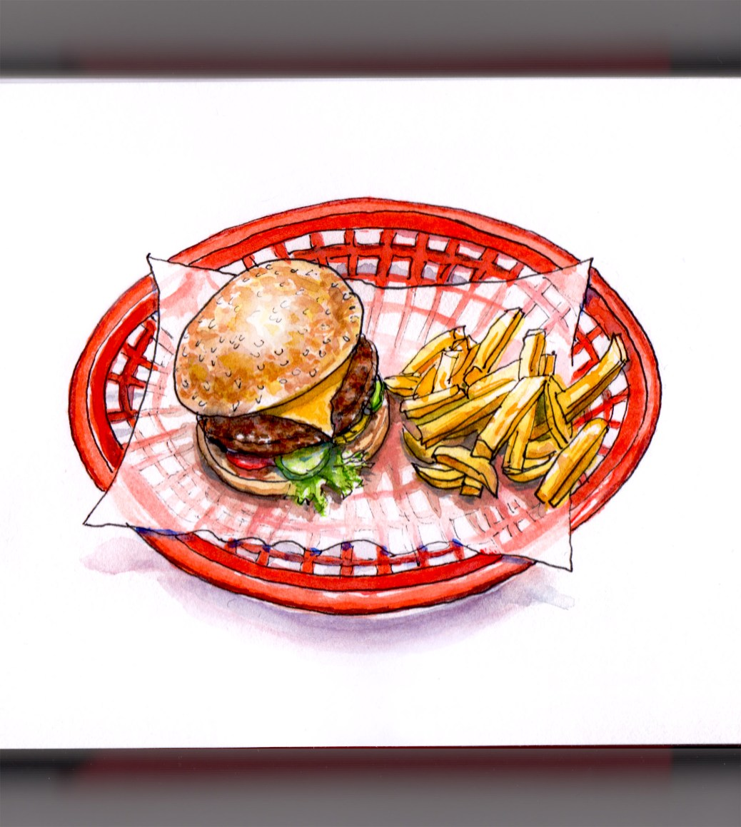 Day 8 - #WorldWatercolorGroup Burger and Fries in a red basket - #doodlewash