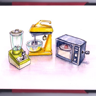 Day 9 - #WorldWatercolorGroup Wind-up Appliances by Galoob Cooking Toys