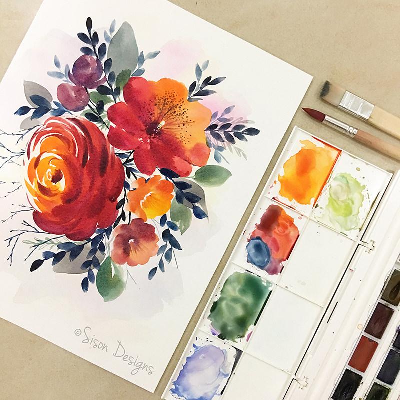 #WorldWatercolorGroup - watercolor painting of flowers by Shiela Sison - #doodlewash