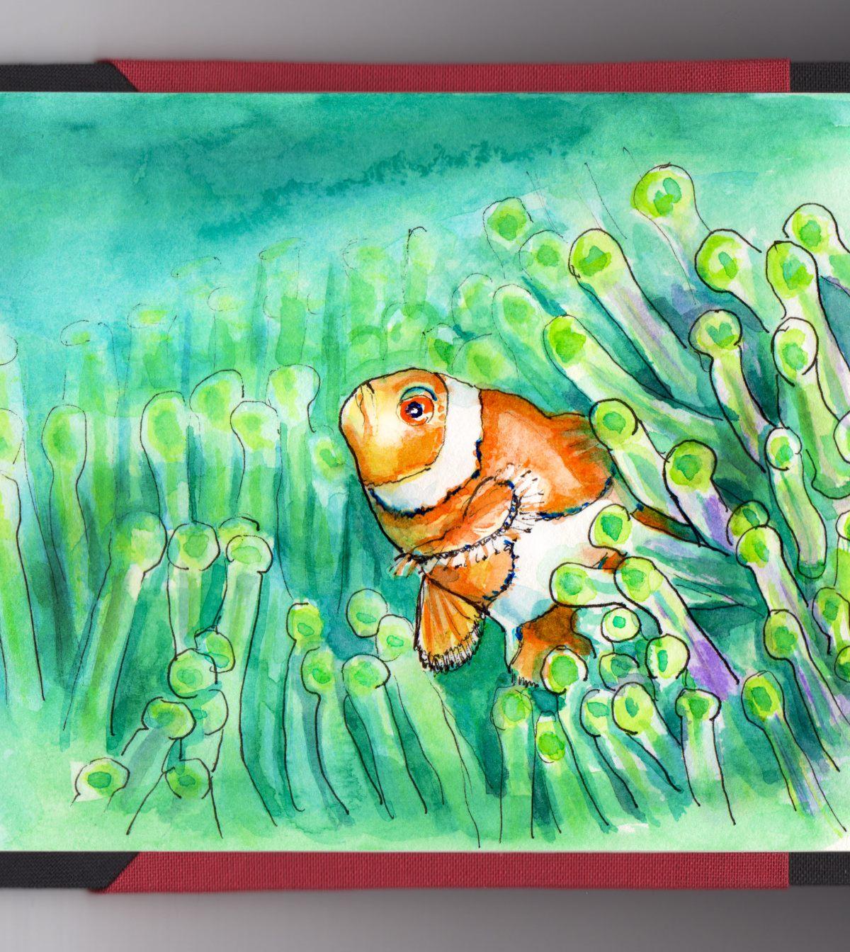 Day 1 - #WorldWatercolorGroup Sea Life Clownfish Clown Fish In Sea Anemone