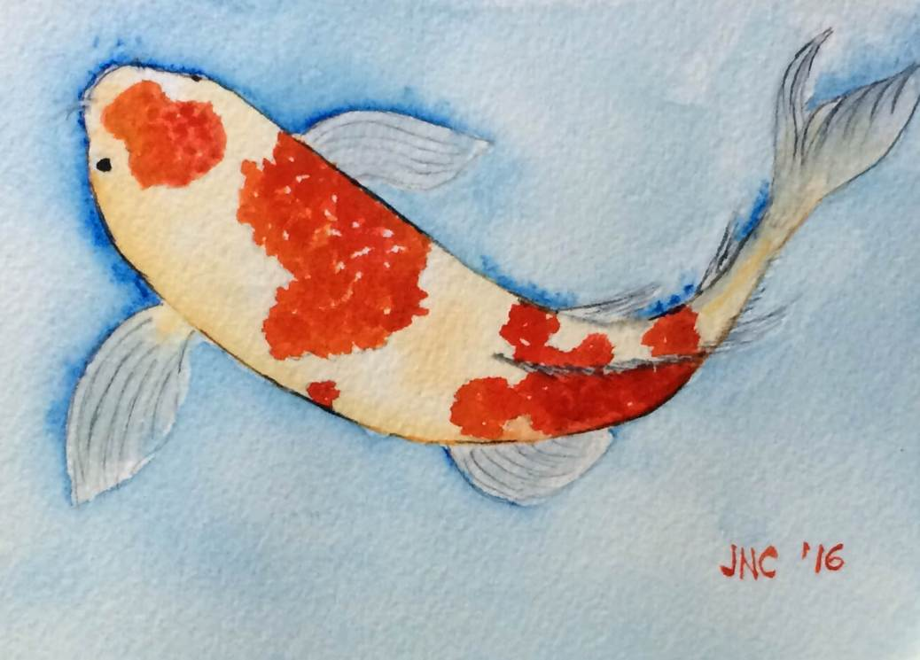 #WorldWatercolorGroup - Watercolor painting of koi fish by Tamz Canete - #doodlewash