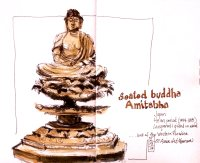 #WorldWatercolorGroup - Watercolor seated buddha amitabha by Leslie Rich - #doodlewash