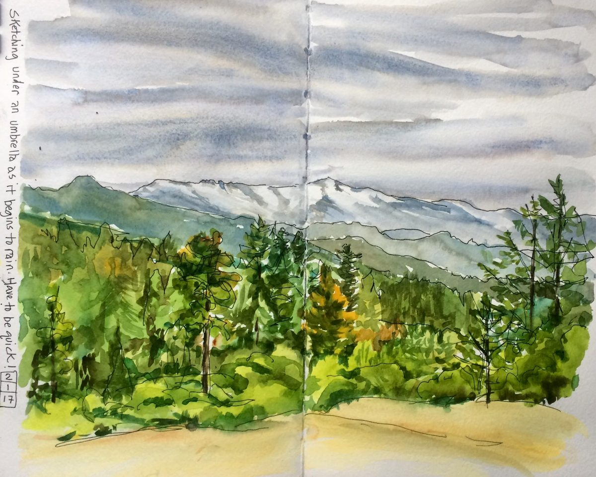#WorldWatercolorGroup - Watercolor landscape by Leslie Rich - #doodlewash