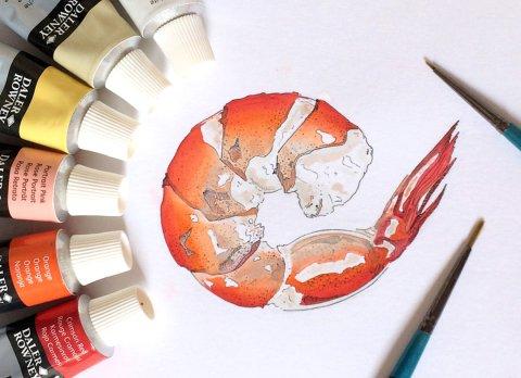 #WorldWatercolorGroup - Watercolor by Elizabeth Shana of shrimp - #doodlewash