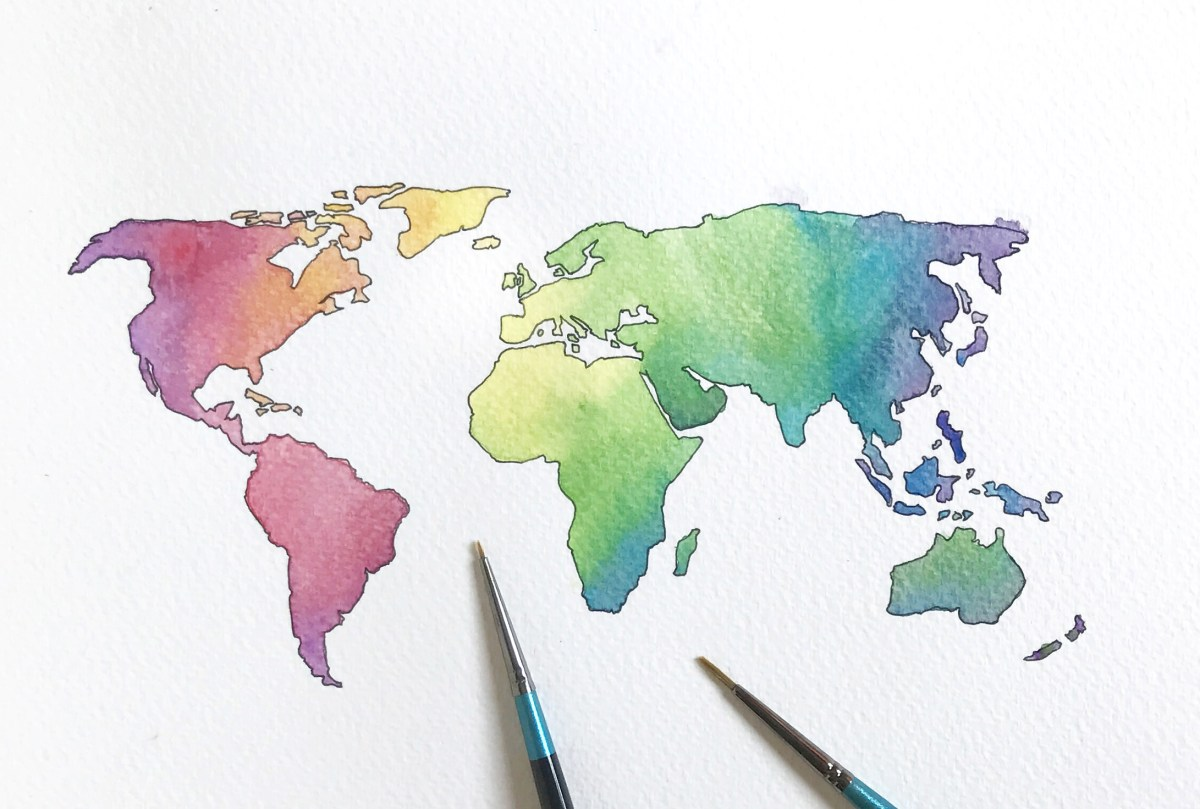 #WorldWatercolorGroup - Watercolor by Elizabeth Shana of world map - #doodlewash