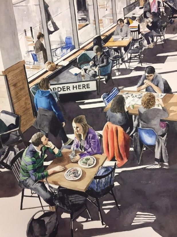 #WorldWatercolorGroup - Watercolor painting of restaurant by Ellie Moniz - #doodlewash