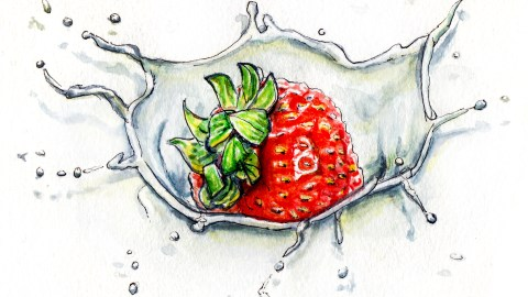 Day 15 - #WorldWatercolorGroup - Strawberries and Cream Splash - #doodlewash