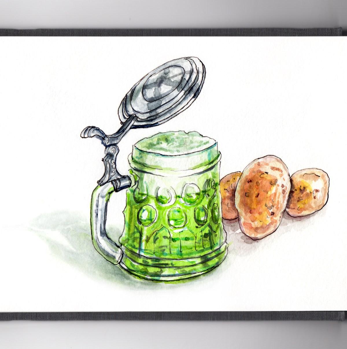 Day 17 - #WorldWatercolorGroup - Green Beer and Potatoes Mood - #doodlewash