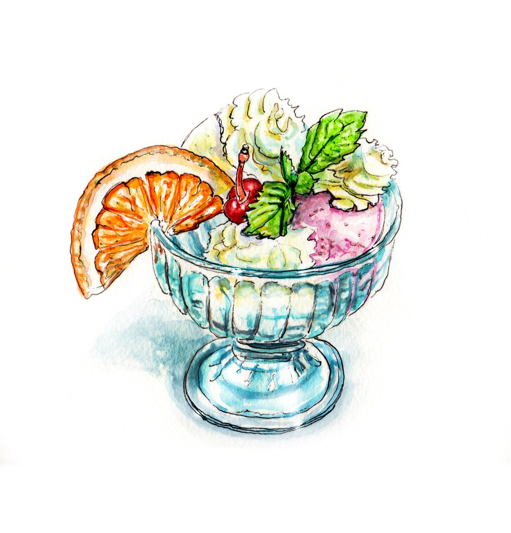 Day 22 - #WorldWatercolorGroup The Joy of A Sweet Treat Ice Cream with Orange Slice - #doodlewash