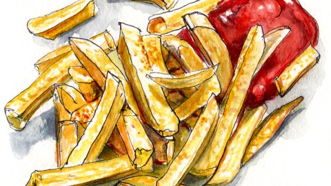 Day 24 - #WorldWatercolorGroup The Magic Of Simple Stuff French Fries and Ketchup Watercolor Illustration