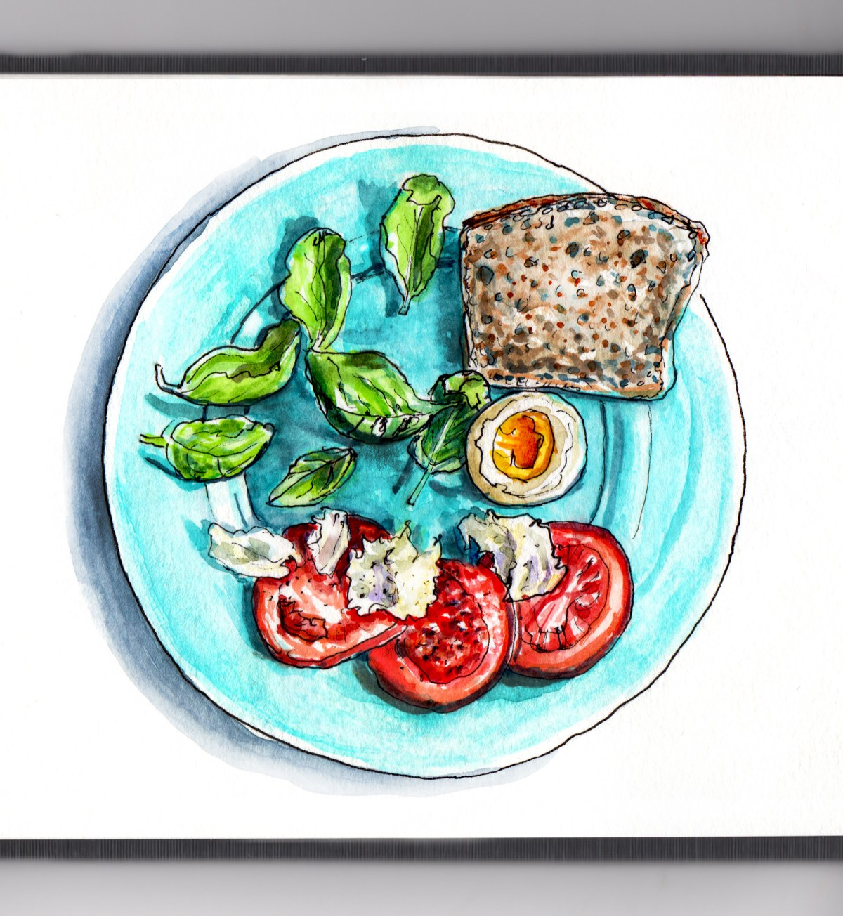 Day 29 - #WorldWatercolorGroup - Domestic Transitions Eating Healthier - Plate with Tomato Basil Mozeralla Egg and Wheat Bread - #doodlewash