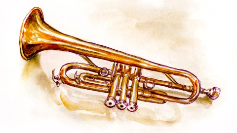 Day 4 - #WorldWatercolorGroup Musical Instrument Brass Trumpet - #doodlewash